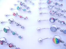 Lot50pcs  Logos Dangle  Navel Rings Belly Bars Navel Button Barbells mix logos