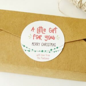 Personalised Merry Christmas Stickers, XMAS Labels, Christmas Gift Tags