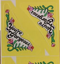 """Sleeved Vintage """"You're Gorgeous"""" Corner Stickers. 4 Sheets"""