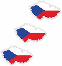 "Czech Republic 3x Small Map flag Stickers (0.7""x1.2"")Bumper Helmet Phone"