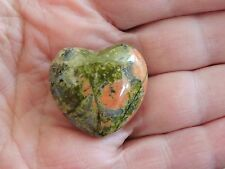 Carved Unakite Stone Heart green and orange natural rock mineral