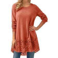 Women Ladies Long Sleeve Lace Trim Hem Hoodie High Low Loose Tunic Tops Blouse
