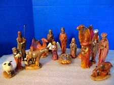 "1973 Byron Molds~15 Piece Hand Painted NATIVITY FIGURINE SET~up to 7.5"" Tall"