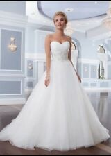 UK White Strapless Sweetheart A Line Sweetheart beaded Wedding Dresses Size 12