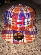 "New Era Huf Orange/Purple Plaid W/ Red ""H"" 7 1/8 Inch Rare Fitted Hat Brand New"