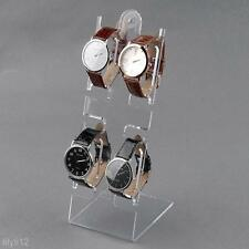 New 4 Slots Clear Plastic Watch Bracelet Jewelry Display Stand Holder Rack