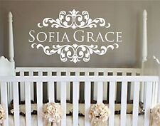 """Girl's Name Wall Decal,damask border,LARGE 20"""" X 35.5"""",shabby chic,Girl's Room,"""