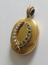 Fine Victorian 15ct Gold Oval Emerald & Seed Pearl Laurel Wreath Hinged Locket