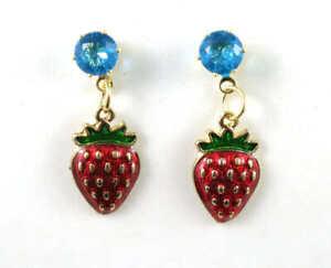 New Betsey Johnson Fashion Jewelry Blue Crystal Rhinestone trawberry earrings