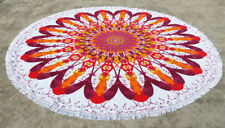 Multi Colored Indian Mandal Floral Hippie Roundie Beach Towel Round Table Cover