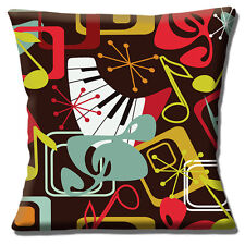 "Retro 50's Music Notes Cushion Cover 16""x16"" 40cm Multicolour Vintage Design"