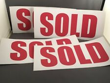 Sold Stickers Real Estate Sign Car 12 X 4 Red Weatherproof Vinyl Lot Of 4