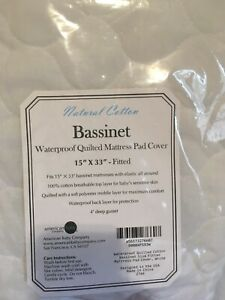 American Baby Company Waterproof Quilted Cotton Bassinet Mattress Cover
