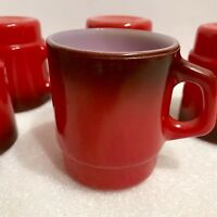 Fire King 5 Mugs Red Brown Ombre Anchor Hocking Stacking Cups Vintage Two Tone