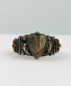 ANTIQUE VICTORIAN 9k YELLOW GOLD WOVEN HAIR MOURNING HEART LOVE RING Sz 8.5