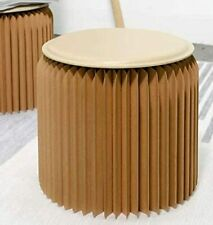 13.8″ Tall Paper Stool Sturdy Modern Seat Solution Cushion Brown
