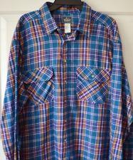 Woolrich Mens 2XL Flannel Shirt Plaid 100% Cotton Blue Brown Purple USA