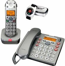 amplicomms PowerTel 980 + 601 Senioren Telefon Set mit AB Vibrationsarmband +++