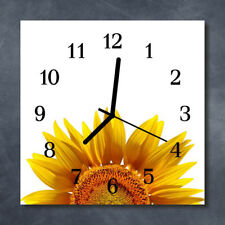 Glass Wall Clock Kitchen Clocks 30x30 cm silent Flower Yellow
