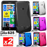 2 PACK NEW S CURVE GEL TPU CASE COVER FOR NOKIA Lumia 625 Lumia625 + Screen Film