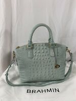 Genuine BRAHMIN Duxbury Melbourne sea glass blue medium satchel bag with strap