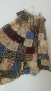 Vintage Boho Tie Patchwork Floral Midi Skirt Size 22 Peasant Gypsy Prairie