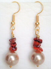 Carnelian nugget and champagne shell pearl hook earrings gold plated Approx. 4cm