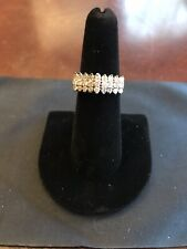 Brilliant 14K Yellow Gold 3 Row 27 Diamond Pyramid 1ctw Size 6 Ladies Ring