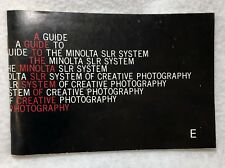 A Guide to the Minolta SLR System of Creative Photography Brochure Manual Book