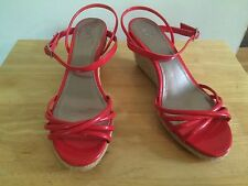 ZARA TRF Ladies Wedge Red Patent Sandals @ EU 38 UK 5 Excellent Condition Shoes