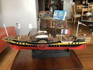 "Vintage Civil War Era 1/80 Steamboat Side Wheeler Handmade Wooden Ship Model 28"""