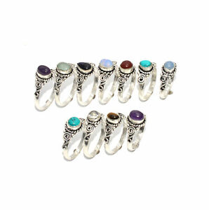 WHOLESALE 11PC 925 SILVER PLATED WHITE RAINBOW MOONSTONE MIX STONE RING LOT 0 A9