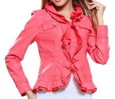 Caroline Morgan Jacket PLUS SIZE 14 XL Coral Pink Leather Look Waterfall BNWT