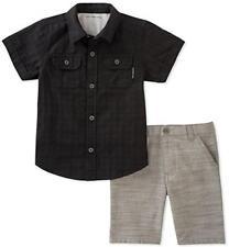 Calvin Klein Big Boys Black Woven Shirt 2pc Short Set Size 8 10 12 $60