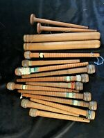 Mix LOT OF 16 LARGE VINTAGE INDUSTRIAL TEXTILE MILL WOODEN Thread SPOOLS(6)