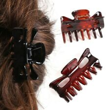 Pack Of 4 WOMANS HAIR CLIPS BLACK & BROWN Clamp Grip Hairstyle Bulldog Hairpins