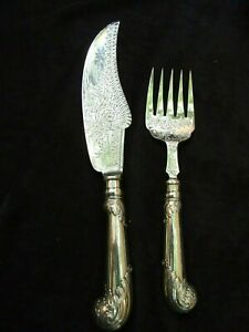 Antique English Silver Plate Fish Knife & Fork Server Engraved Vintage1900's VGC