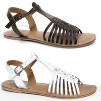 Ladies Leather Sandals Womens Strappy Gladiator Walking Summer Beach Shoes Size