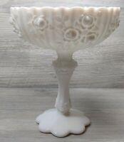 """VTG Fenton Milk Glass """"Rose Cabbage"""" Pattern Footed Pedestal Compote Fruit Bowl"""
