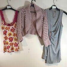 BUNDLE OF LADIES CLOTHES X3 : WOMEN'S SIZE 10 : TOP, CARDIGAN, TUNIC <B66