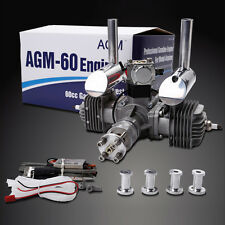 AGM60 60cc Gas Petrol Engine Twin Cylinders for RC Gasoline CDI& muffler 7.0HP