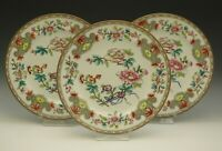 ROYAL WORCESTER FOR TIFFANY AND CO ANTIQUE CHINOISERIE ENAMEL 3 DINNER PLATES