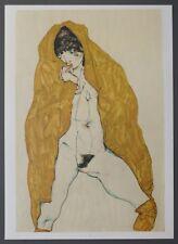 Egon Schiele Lichtdruck Collotype 36x50cm Female Nude with yellow Shawl 1914 Akt