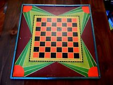 Vintage Ming Art Deco Chinese Checkers Wall Piece Game Board Metal Frame 2 sided