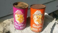 Graf's Orange and Grape Flat Top Soda Cans