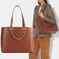NWT🍂 $375 COACH 78218 B4L4A Smooth Leather Signature Chain C Tote Saddle Brown