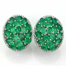 Sterling Silver Earrings Genuine Natural Green Aventurine Cluster Design