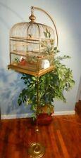 Vintage Brass Bird Cage w/Perkins Half Moon Stand & Feathered Bird