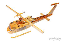 HELICOPTER UH1 HUEY HANDMADE WOODEN SCALE MODEL AIRPLANE MILITARY GIFTS HOBBIES