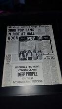 Deep Purple Feldman/Hec Rare Original Promo Poster Ad Framed!
